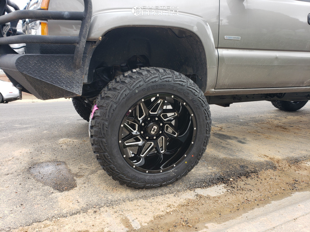 "2006 Chevrolet Silverado 2500 HD Aggressive > 1"" outside fender on 22x12 -51 offset Vision Spyder and 37""x13.5"" Kanati Mud Hog on Suspension Lift 7"" - Custom Offsets Gallery"