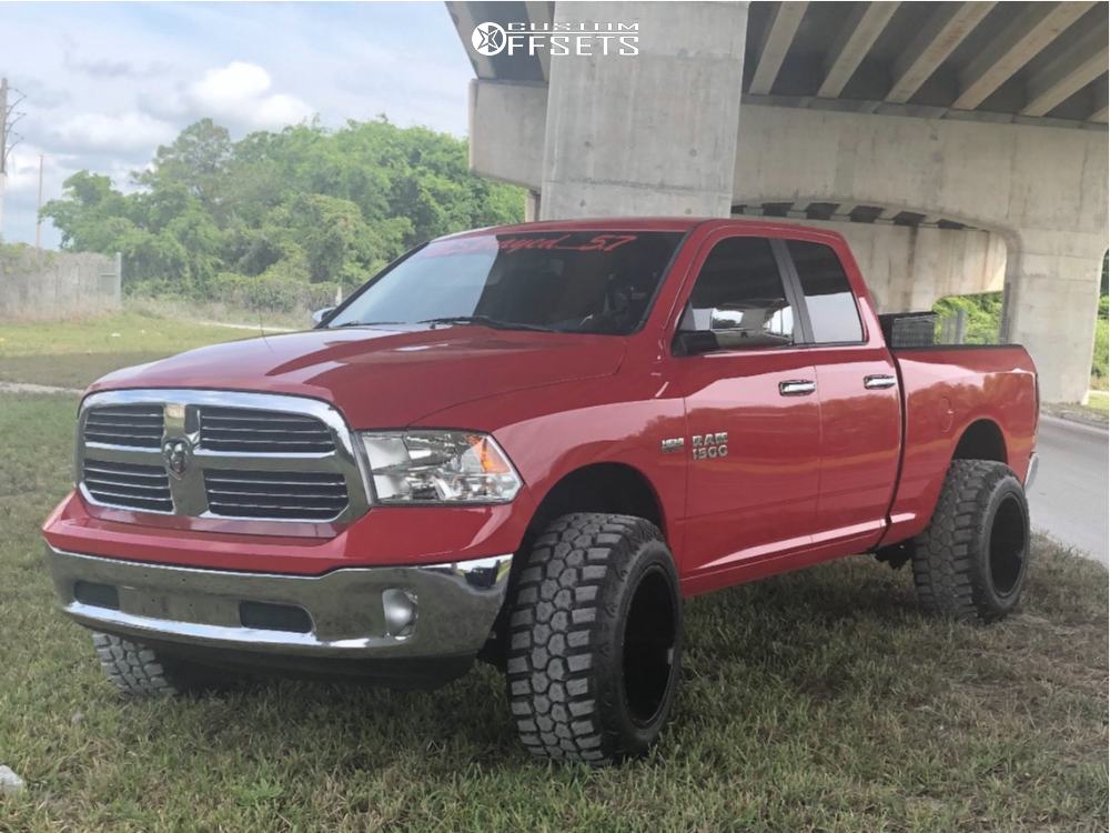 """2015 Ram 1500 Hella Stance >5"""" on 20x14 -76 offset Full Throttle Ft-1 and 35""""x13.5"""" RBP Repulsor Mt Rx on Suspension Lift 3.5"""" - Custom Offsets Gallery"""