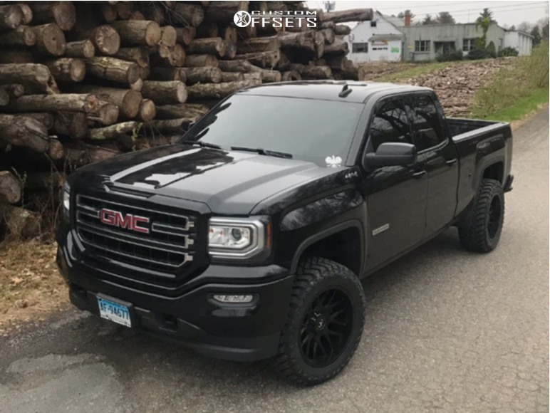 """2017 GMC Sierra 1500 Aggressive > 1"""" outside fender on 20x10 -25 offset Motiv Offroad Magnus and 33""""x12.5"""" Atturo Trail Blade Mt on Leveling Kit - Custom Offsets Gallery"""