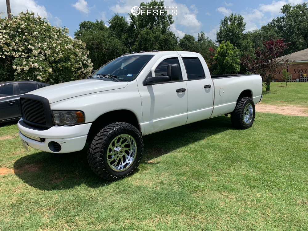 """2003 Dodge Ram 2500 Aggressive > 1"""" outside fender on 20x10 -19 offset Xtreme Force XF8 and 35""""x12.5"""" Atturo Trail Blade Mt on Suspension Lift 4.5"""" - Custom Offsets Gallery"""