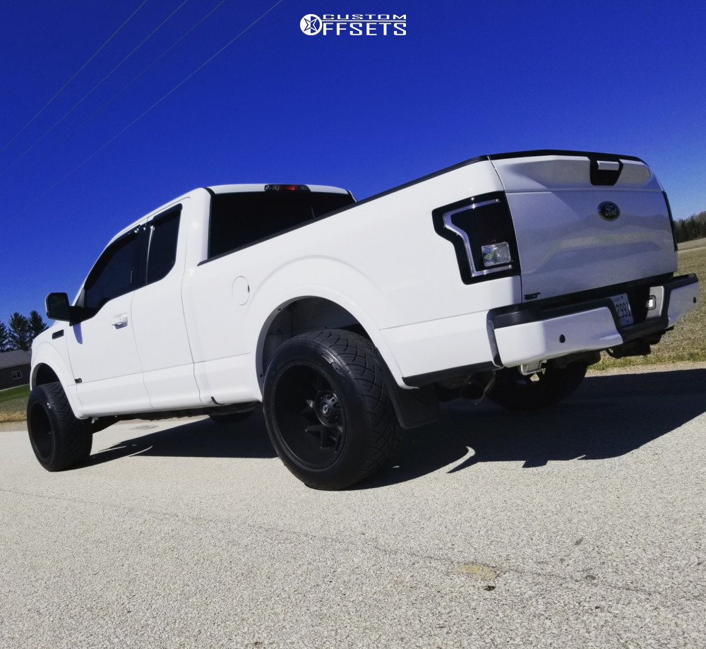 "2016 Ford F-150 Aggressive > 1"" outside fender on 20x12 -51 offset Vision sliver and 305/50 Nitto Nt420s on Leveling Kit - Custom Offsets Gallery"