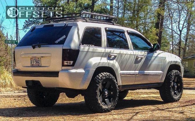 Marvelous ... 4 2005 Grand Cherokee Jeep Leveling Kit Xd Rockstar Black Aggressive 1  Outside Fender ...