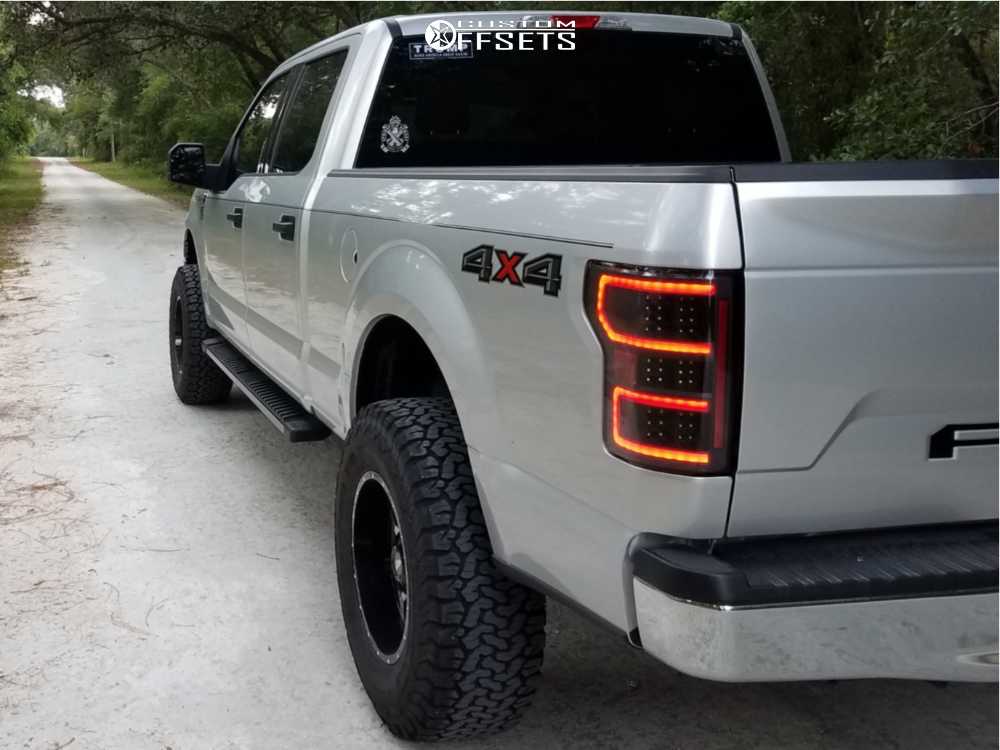 """2018 Ford F-150 Aggressive > 1"""" outside fender on 18x10 -24 offset Moto Metal Mo970 and 35""""x12.5"""" BFGoodrich All Terrain Ta Ko2 on Suspension Lift 4.5"""" - Custom Offsets Gallery"""