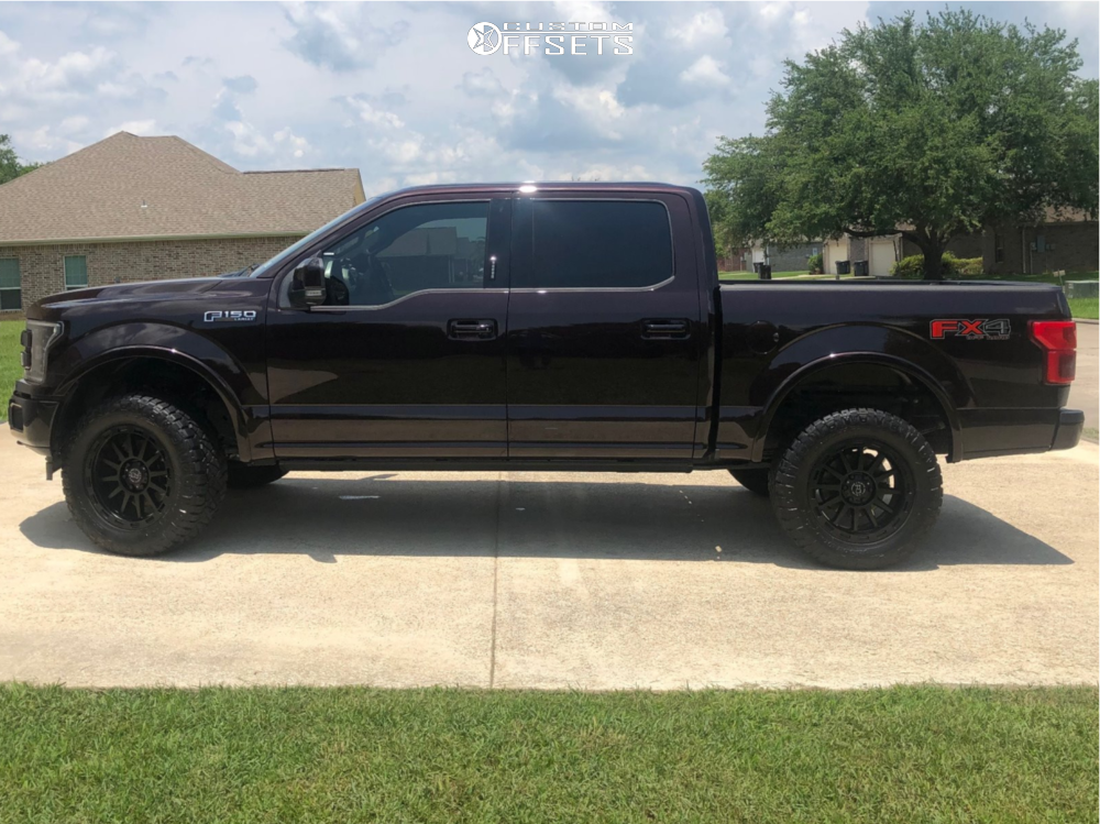 """2018 Ford F-150 Slightly Aggressive on 20x9 12 offset Black Rhino Revolution and 295/60 Nitto Ridge Grappler on Suspension Lift 3"""" - Custom Offsets Gallery"""