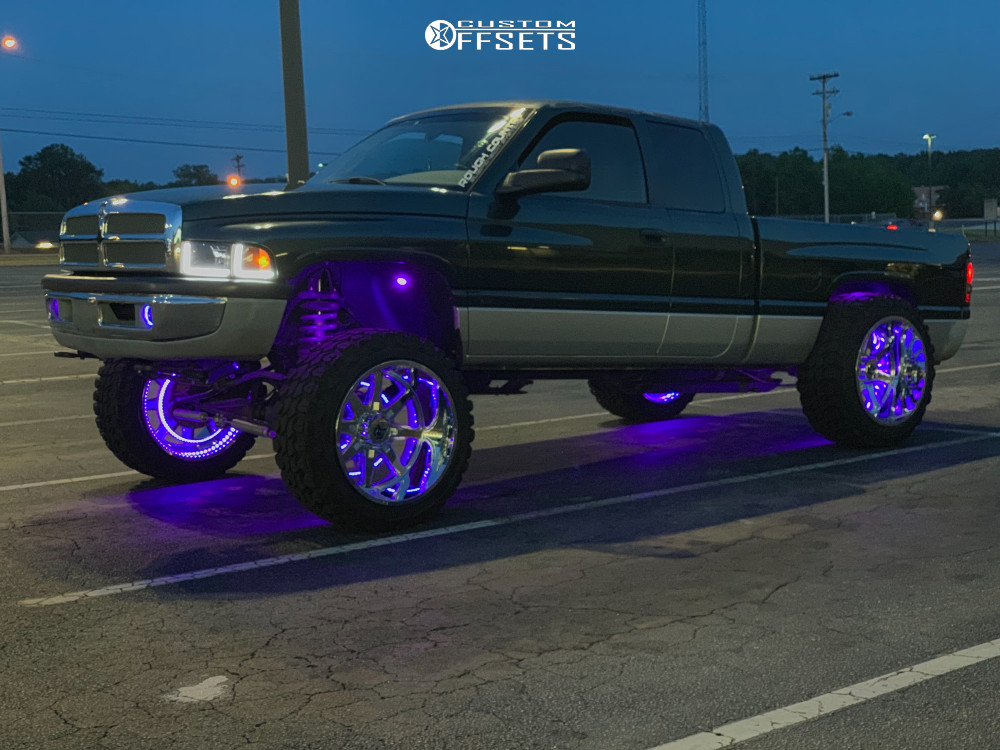 """2001 Dodge Ram 1500 Hella Stance >5"""" on 24x14 -76 offset Dropstars 655c and 37""""x13.5"""" Gladiator Xcomp Mt on Suspension Lift 5"""" - Custom Offsets Gallery"""