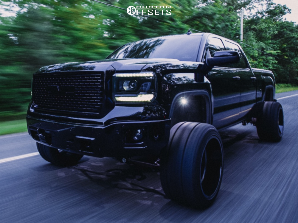 """2014 GMC Sierra 1500 Super Aggressive 3""""-5"""" on 22x14 -81 offset ARKON OFF-ROAD Alexander and 33""""x14.5"""" Fury Offroad Country Hunter Mt on Suspension Lift 6"""" - Custom Offsets Gallery"""