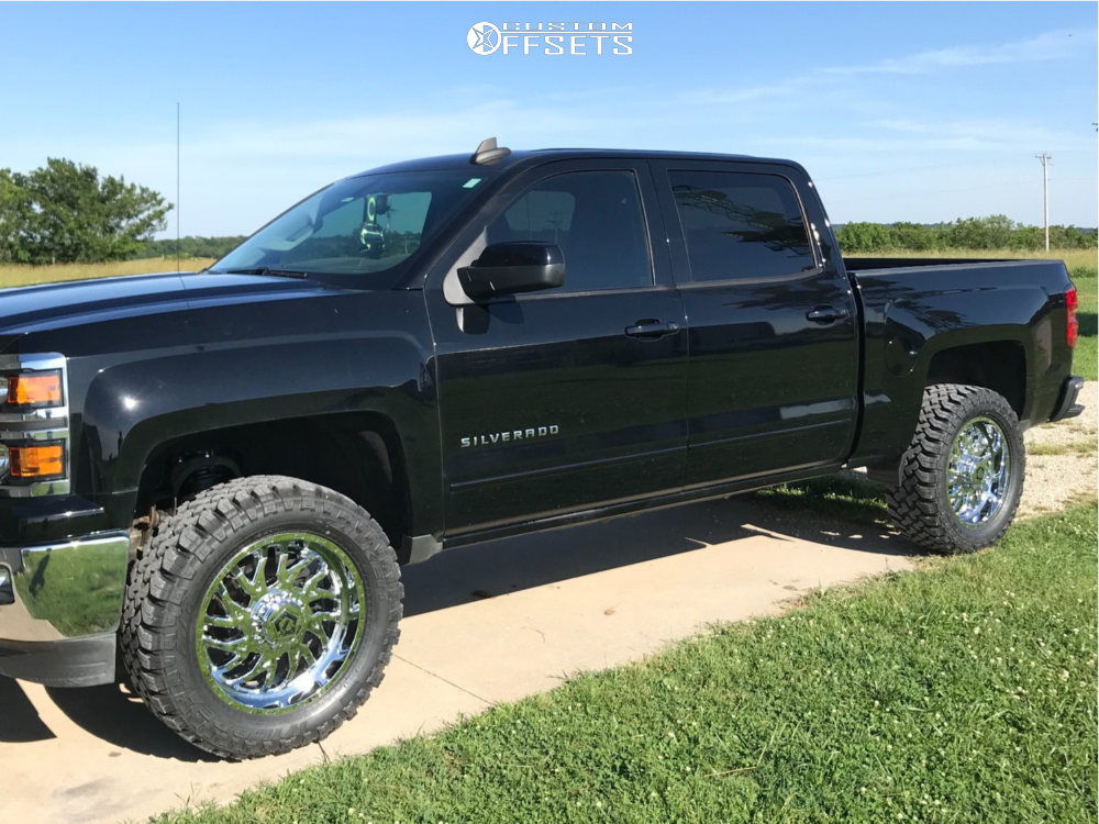 "2015 Chevrolet Silverado 1500 Aggressive > 1"" outside fender on 20x9 0 offset TIS 544c and 33""x12.5"" Falken Wildpeak Mt on Suspension Lift 3.5"" - Custom Offsets Gallery"