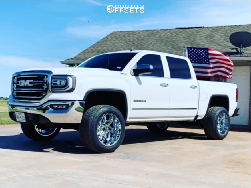 "2016 GMC Sierra 1500 Aggressive > 1"" outside fender on 20x12 -51 offset Vision Spyder and 305/50 Nitto Nt420s on Leveling Kit - Custom Offsets Gallery"