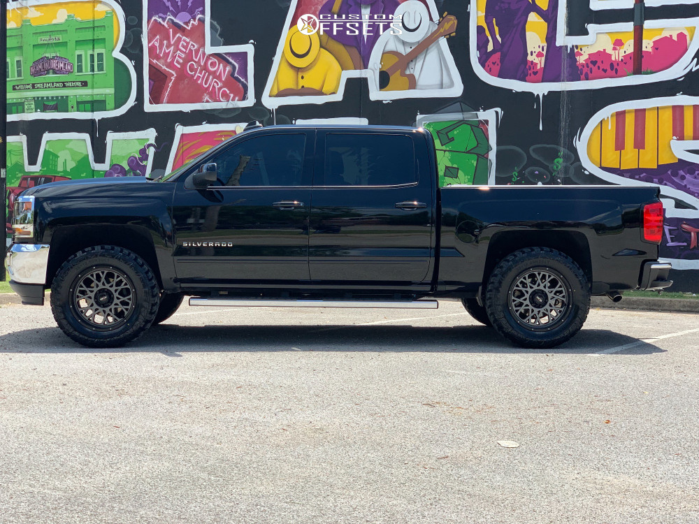 """2018 Chevrolet Silverado 1500 HellaFlush on 20x9 10 offset Vision Rocker and 35""""x12.5"""" Red Dirt Road M/t on Leveling Kit - Custom Offsets Gallery"""