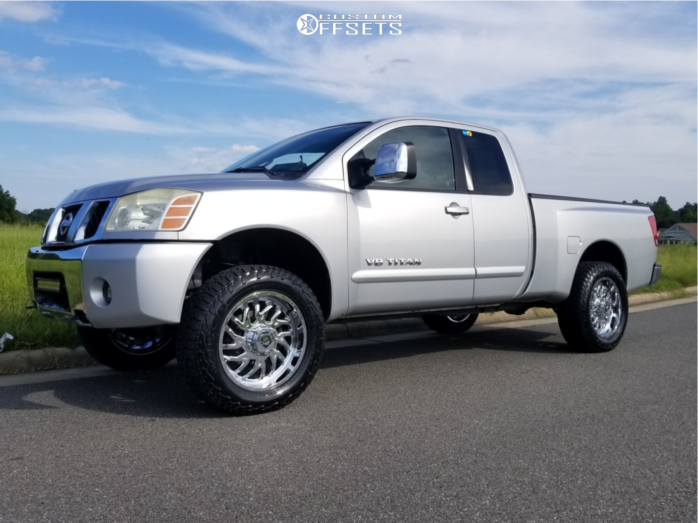 """2005 Nissan Titan Aggressive > 1"""" outside fender on 20x9 0 offset TIS 544c and 275/65 Falken Wildpeak At3w on Suspension Lift 3.5"""" - Custom Offsets Gallery"""