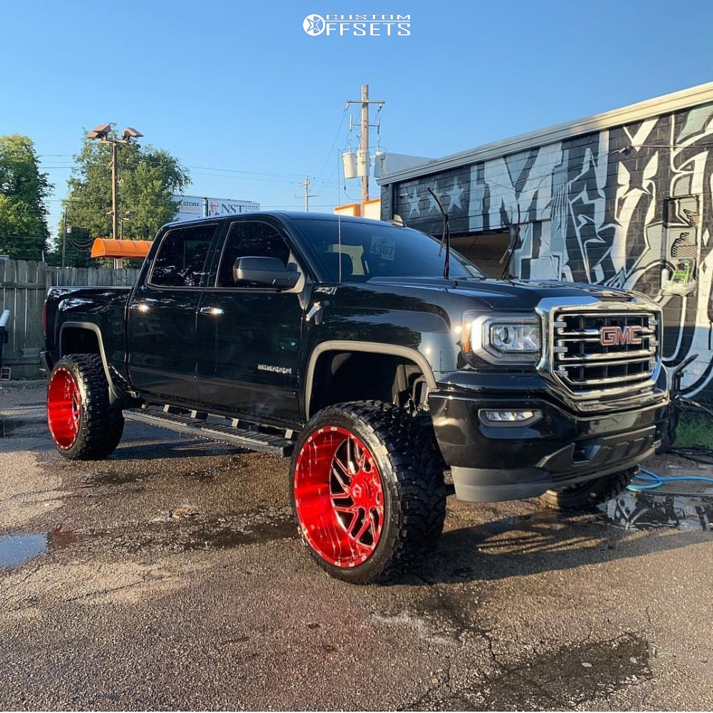 3 2018 Sierra 1500 Gmc Rough Country Suspension Lift 75in Tis 544rm Red