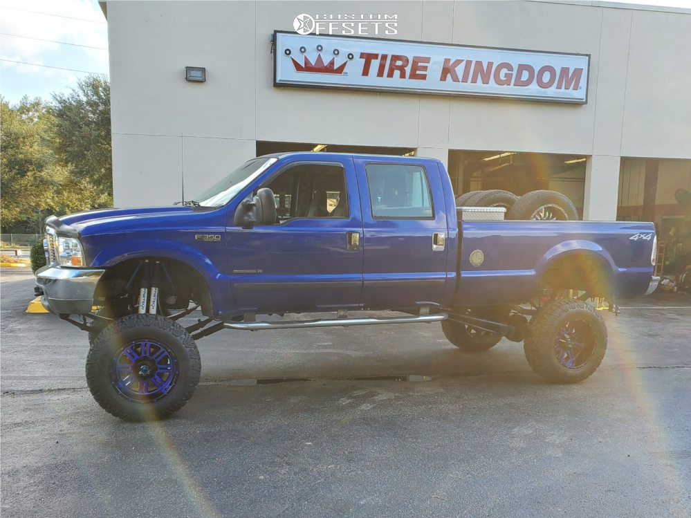"2003 Ford F-350 Super Duty Super Aggressive 3""-5"" on 20x12 -44 offset American Offroad Renegade and 37""x13.5"" Milestar Patagonia Mt on Lifted >12"" - Custom Offsets Gallery"