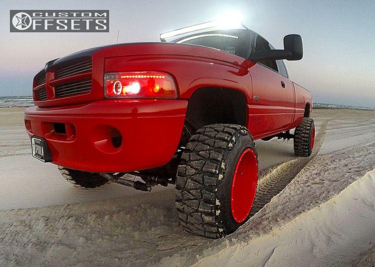 Ram Dodge Suspension Lift Xd Red Super Aggressive on 2001 Dodge 2500 On 35 Tires