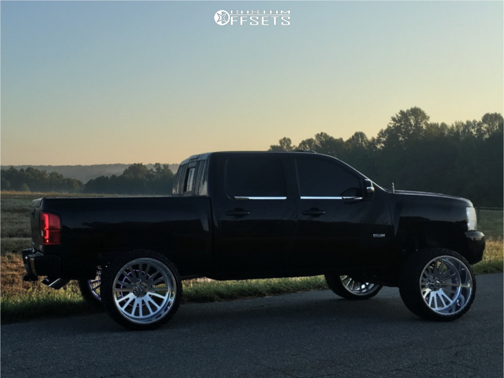 "2010 Chevrolet Silverado 1500 Hella Stance >5"" on 26x14 -90 offset American Force Quantum Cc and 35""x13.5"" Tri-ace Pioneer M/t on Suspension Lift 8"" - Custom Offsets Gallery"
