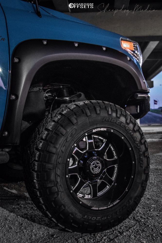 "2019 Toyota Tundra Aggressive > 1"" outside fender on 20x12 -44 offset Anthem Off-Road Commander and 37""x12.5"" Nitto Ridge Grappler on Suspension Lift 6"" - Custom Offsets Gallery"