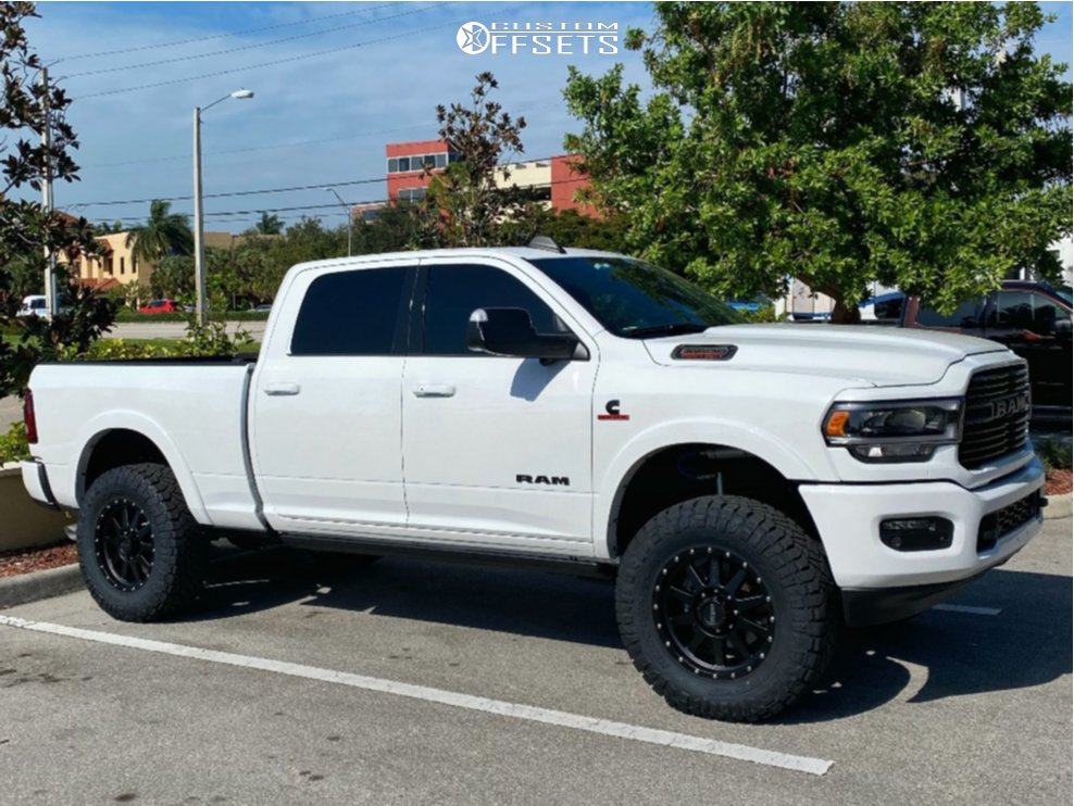 """2019 Ram 2500 Slightly Aggressive on 20x9 18 offset Method The Standard and 37""""x12.5"""" Nitto Ridge Grappler on Leveling Kit - Custom Offsets Gallery"""
