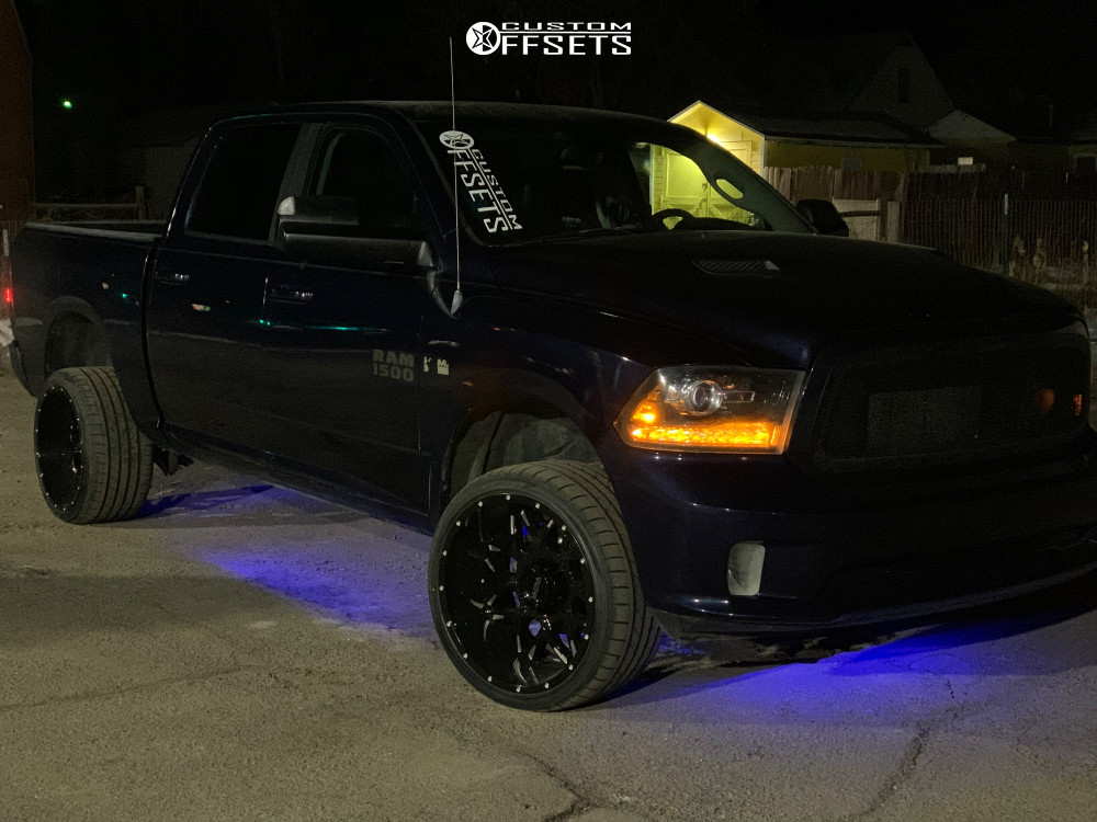 "2013 Ram 1500 Aggressive > 1"" outside fender on 22x12 -44 offset Ultra Carnivore and 315/30 Atturo Az850 on Stock Suspension - Custom Offsets Gallery"