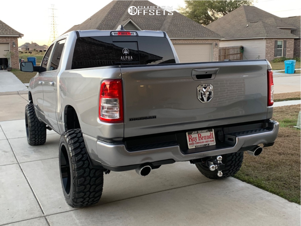 """2019 Ram 1500 Aggressive > 1"""" outside fender on 22x12 -51 offset ARKON OFF-ROAD Lincoln and 35""""x12.5"""" Versatyre Mud Terrain on Suspension Lift 6"""" - Custom Offsets Gallery"""