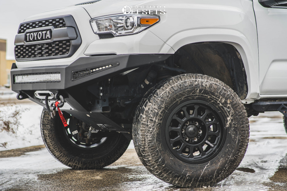 "2017 Toyota Tacoma Slightly Aggressive on 17x9 0 offset Anthem Off-Road Intimidator and 315/70 Pro Comp At Sport on Suspension Lift 6"" - Custom Offsets Gallery"