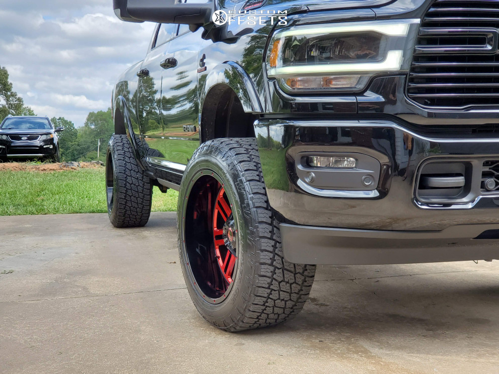 """2019 Ram 2500 Aggressive > 1"""" outside fender on 22x12 -44 offset American Offroad Renegade and 35""""x12.5"""" Toyo Tires Open Country A/t Ii on Leveling Kit - Custom Offsets Gallery"""