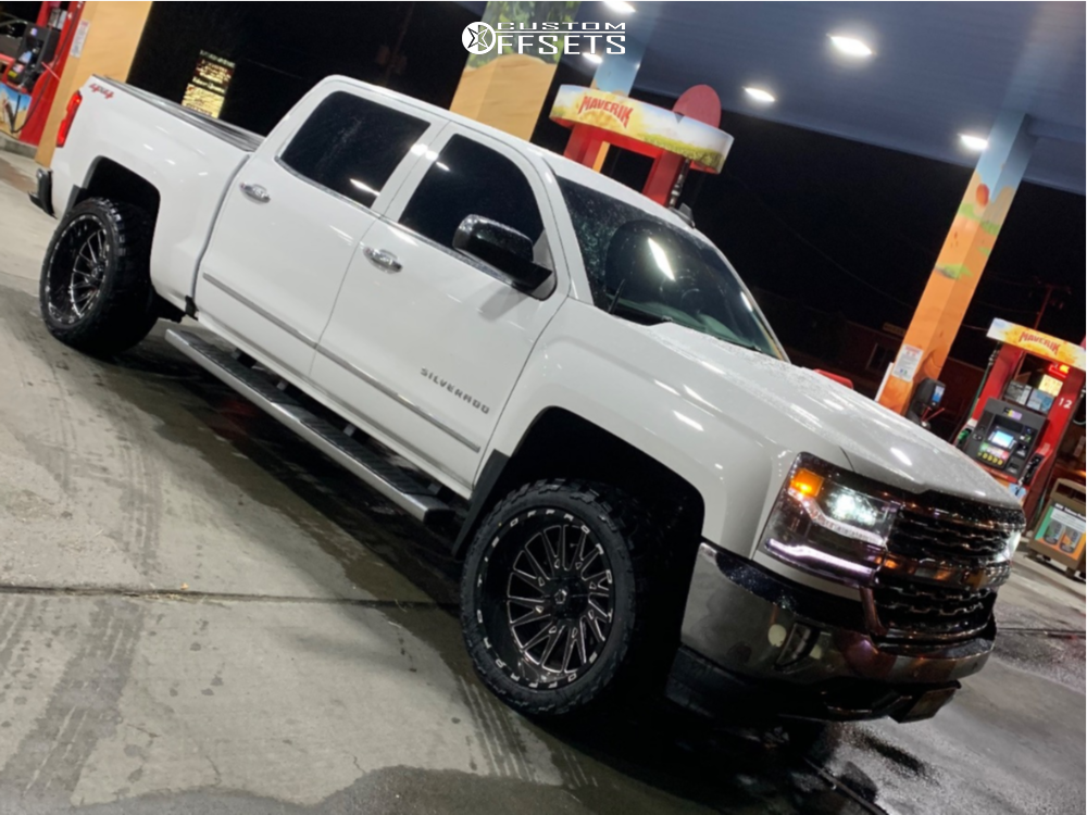 """2017 Chevrolet Silverado 1500 Super Aggressive 3""""-5"""" on 22x12 -44 offset TIS 547bm and 33""""x12.5"""" AMP Mud Terrain Attack Mt A on Leveling Kit - Custom Offsets Gallery"""