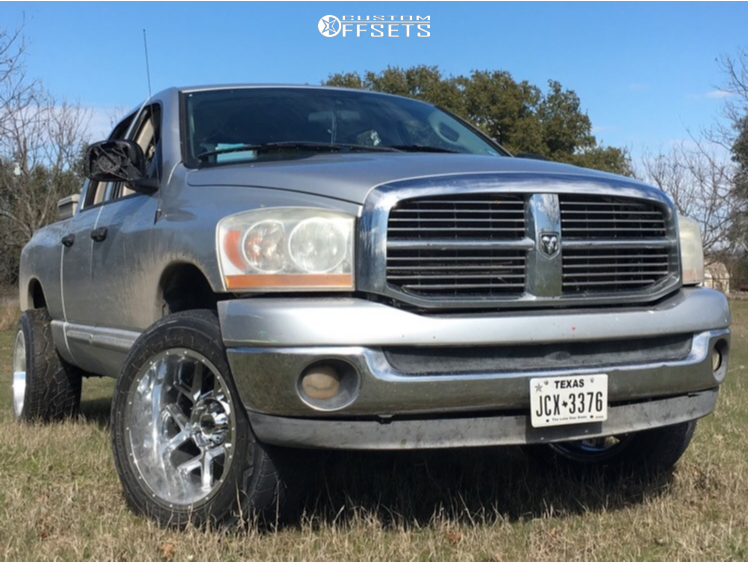 "2006 Dodge Ram 1500 Aggressive > 1"" outside fender on 20x12 -55 offset Vision Sliver and 305/50 Nitto Nt420v on Stock Suspension - Custom Offsets Gallery"