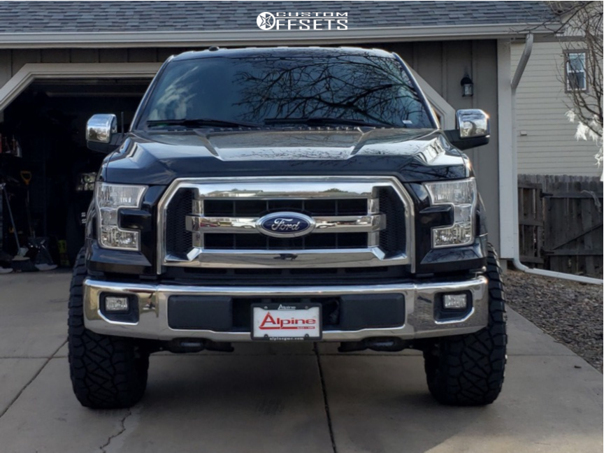 """2017 Ford F-150 Aggressive > 1"""" outside fender on 20x10 -24 offset Anthem Off-Road Equalizer and 35""""x12.5"""" Nitto Ridge Grappler on Leveling Kit - Custom Offsets Gallery"""