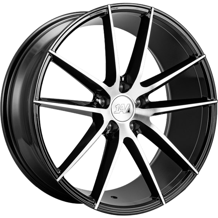 1AV ZX7 Gloss Black with Polished Spoke Faces20x8.5 +25mm