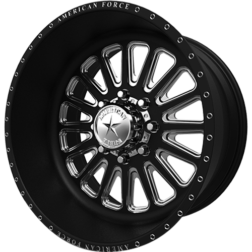 American Force Idol SF Satin Black with Machined Spoke Windows and Accents (Special Force) 20x10 -25mm