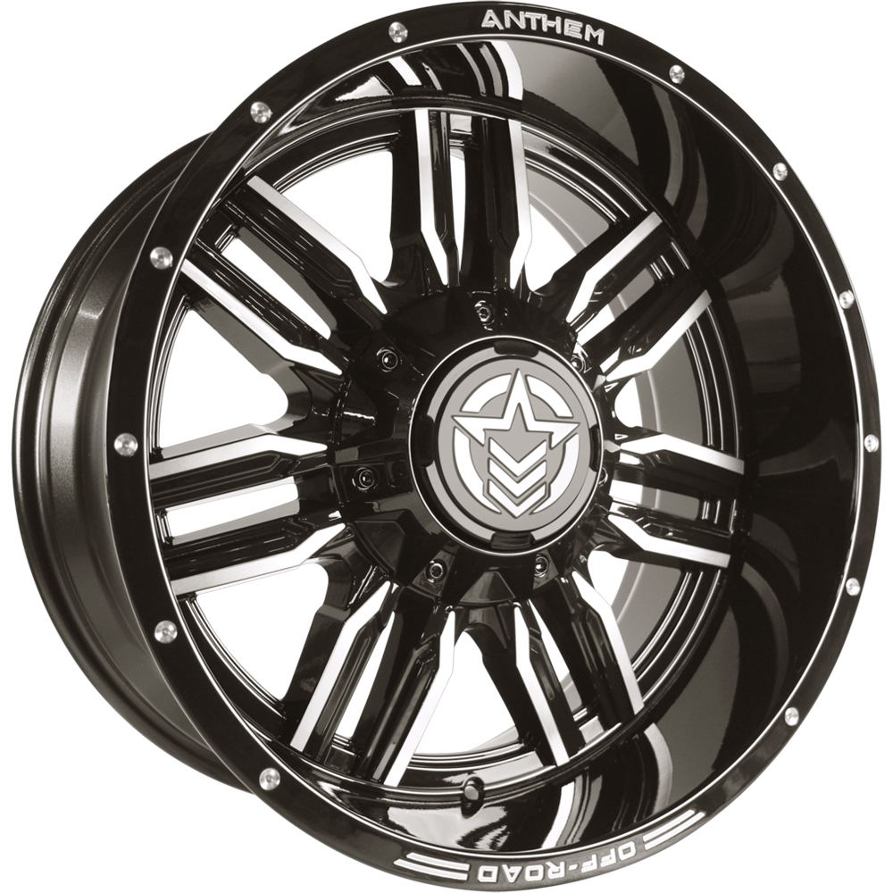 Anthem Equalizer Gloss Black with Gray Tinted Milled Spoke Edges 20x10 -24