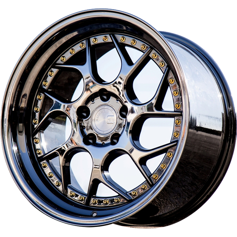Aodhan DS01 Black Chrome with Gold Rivets 19x9.5 15