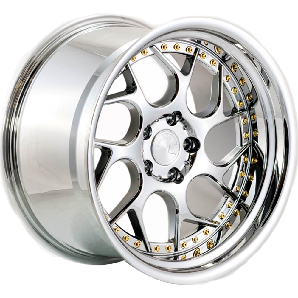 Aodhan DS01 Chrome with Gold Rivets18x9.5 +30mm