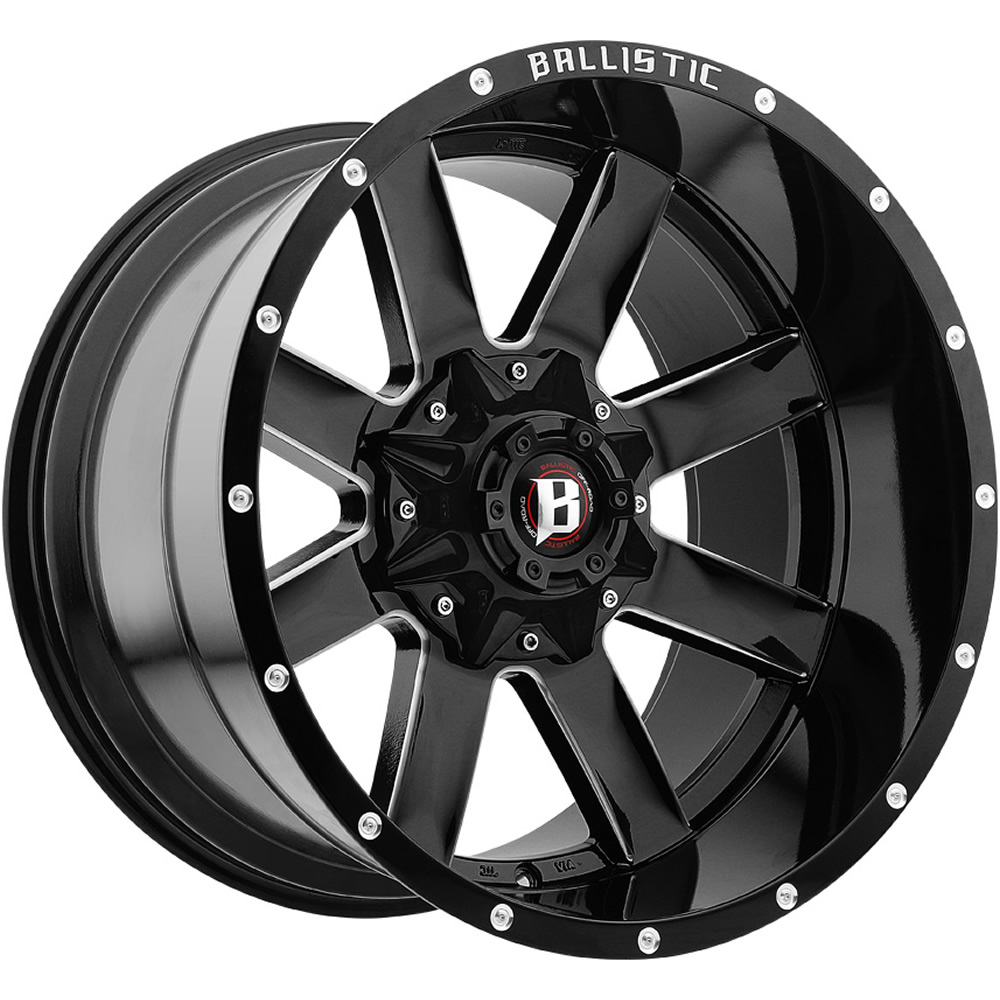 Ballistic Rage Gloss Black with Milled Spoke Edges 20x12 -44