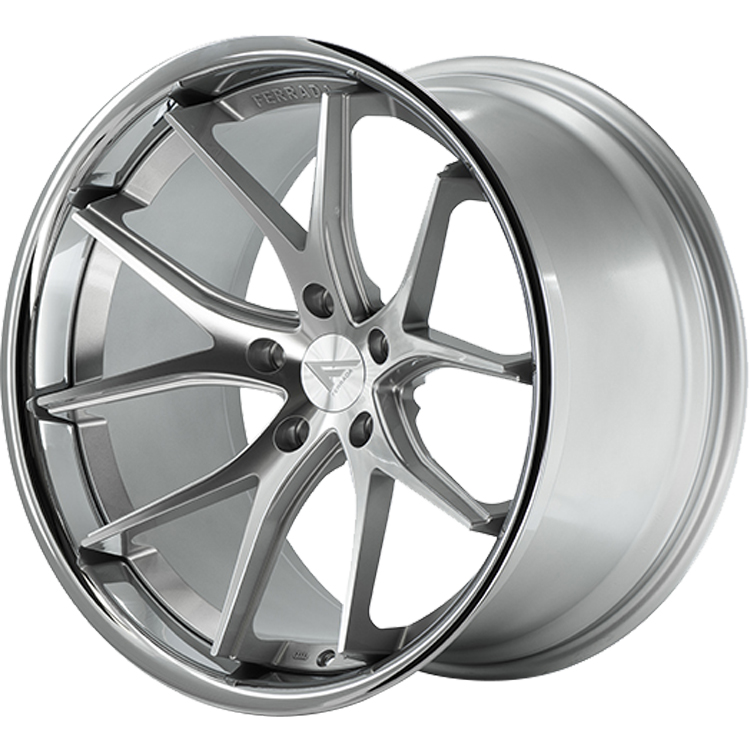 Ferrada FR2 Silver with Machined Spoke Faces and a Chrome Stainless Steel Lip 22x10.5 40