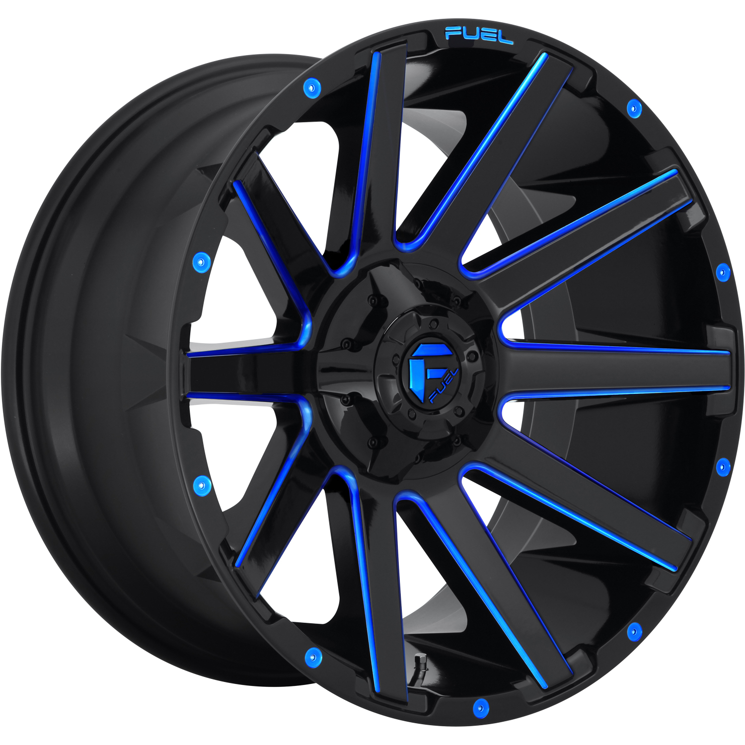 Fuel Contra Gloss Black with Milled Spoke Edges with a Candy Blue Tint 18x9 -12mm