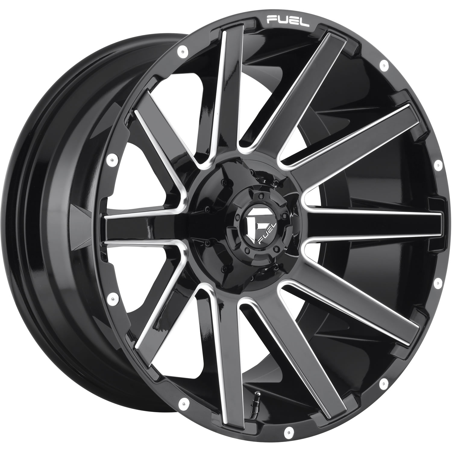 Fuel Contra Gloss Black with Milled Spoke Edges 20x9 2