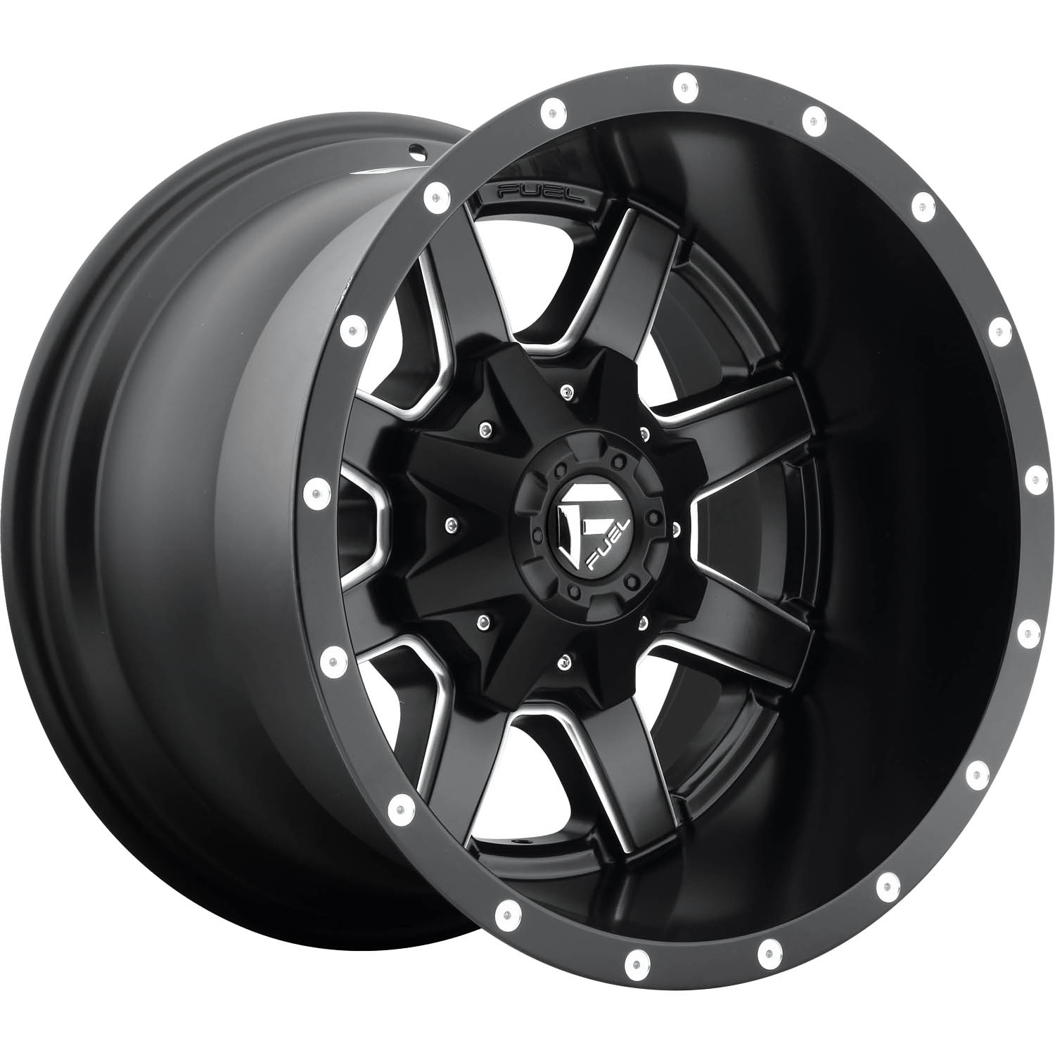 Fuel Maverick Black with Milled Spoke Windows and Lip Accents 18x12 -44