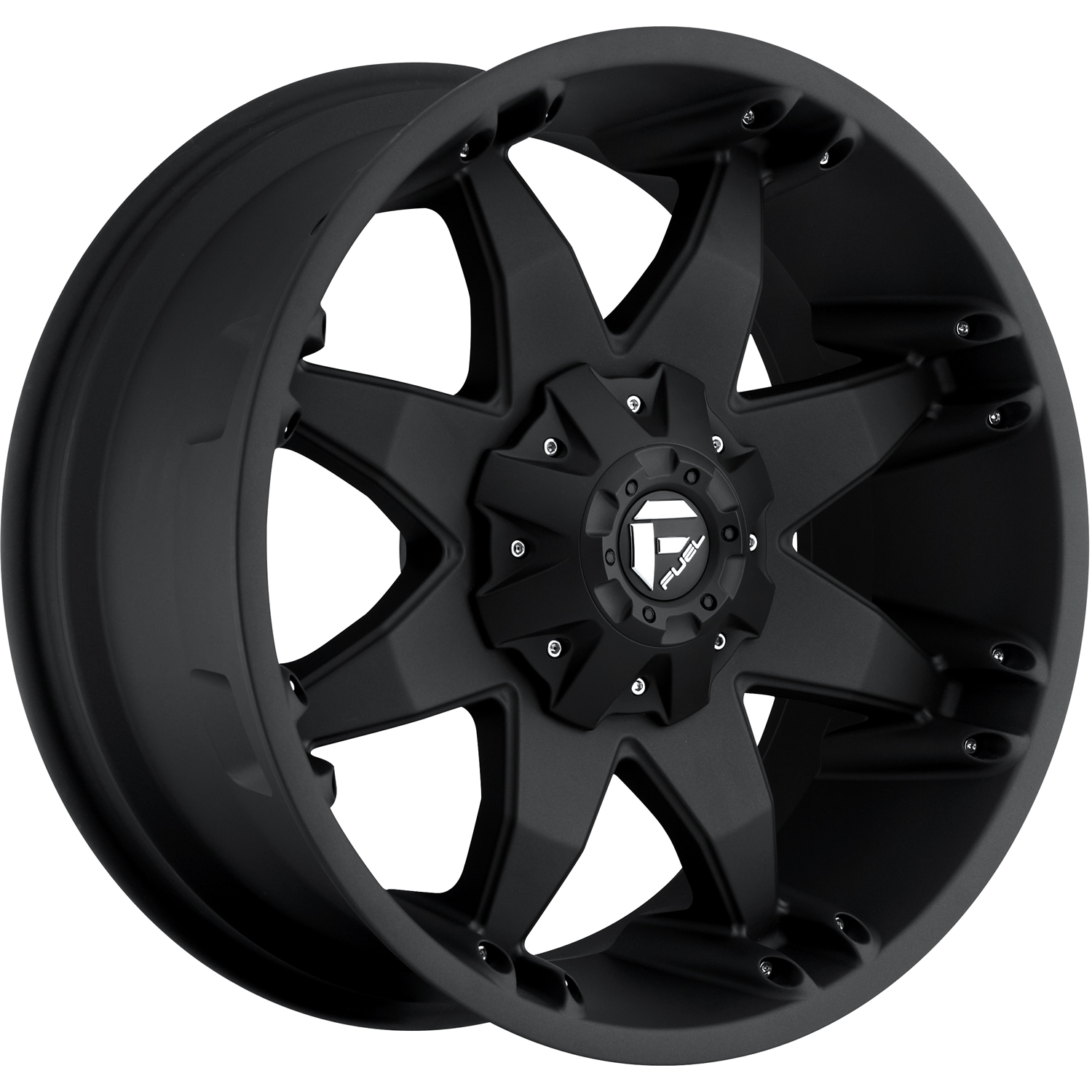 Fuel Octane Black with Chrome Rivets and Bolts 18x9 -12