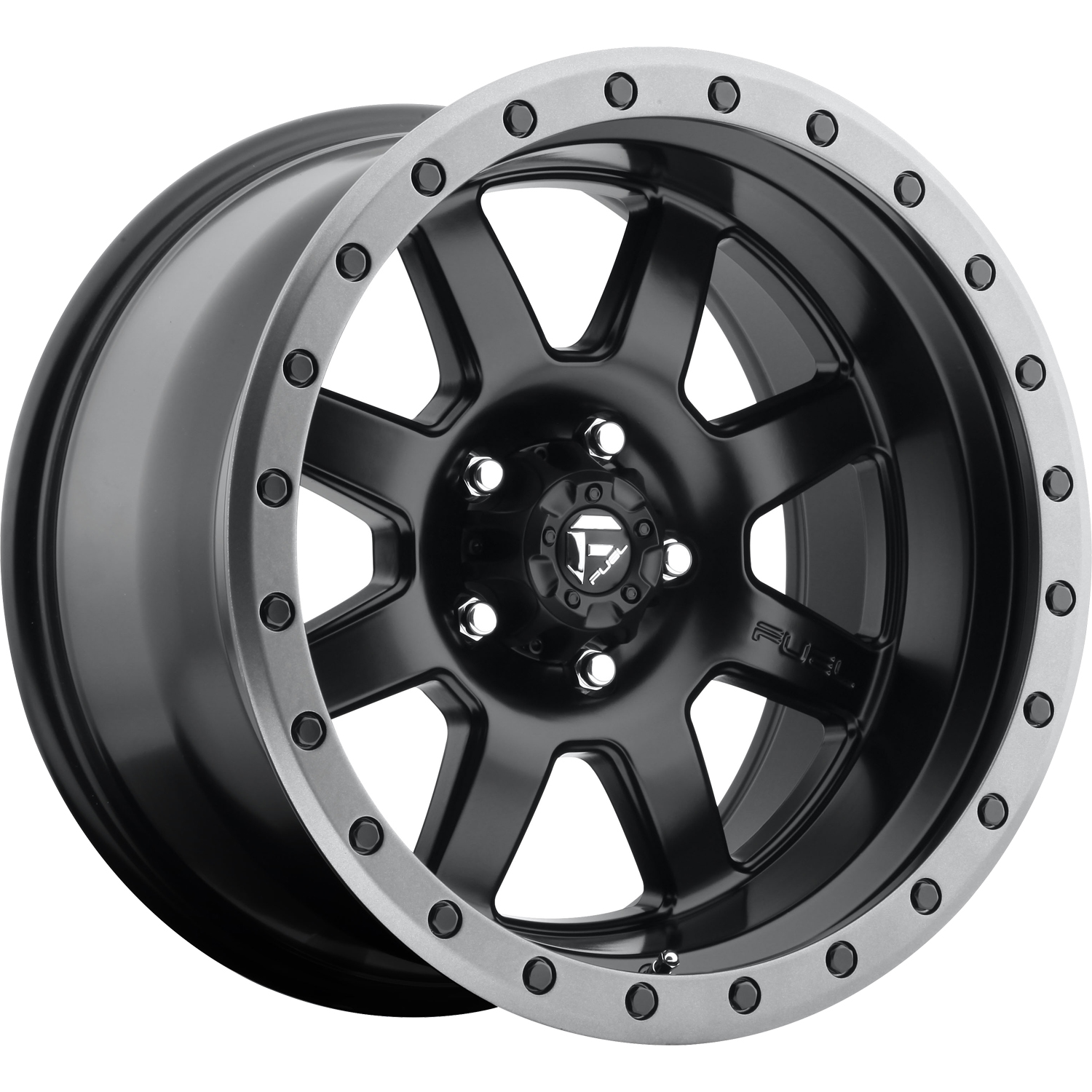 Fuel Trophy Black with a Gray Beadlock Ring 18x10 -24