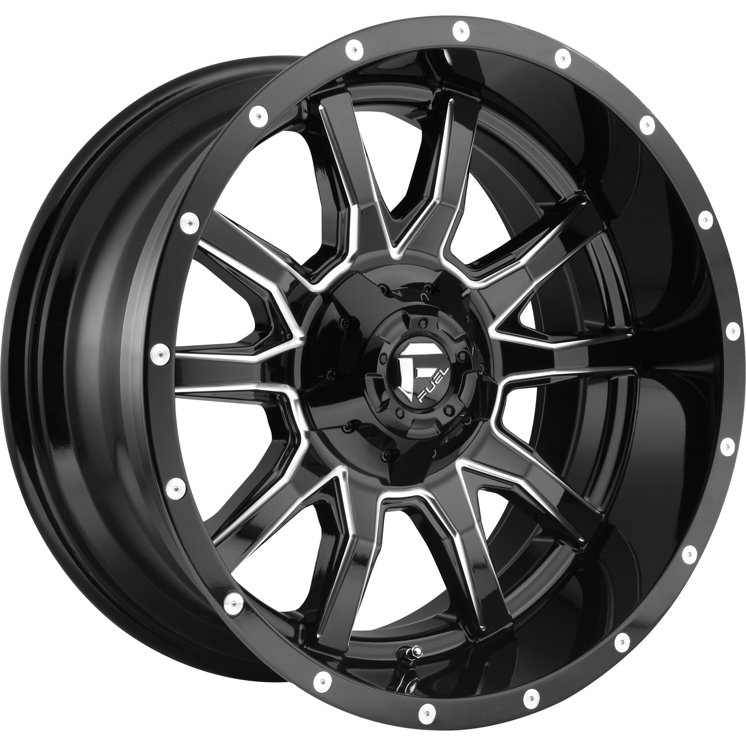 Fuel Vandal Gloss Black with Milled Spoke Edges 18x9 -12mm