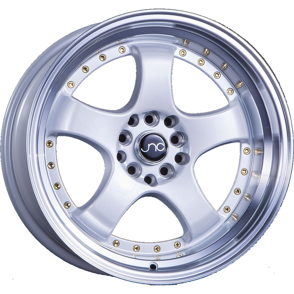 JNC JNC017 White with a Machined Lip and Gold Rivets 19x9.5 22