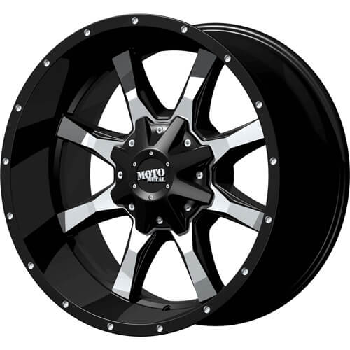 Moto Metal MO970 Gloss Black with Milled Spoke Faces and Accents 20x10 -24