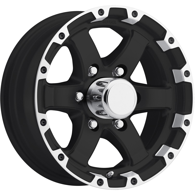 15x6 Machined Black Wheel Sendel T08 6x5.5 0
