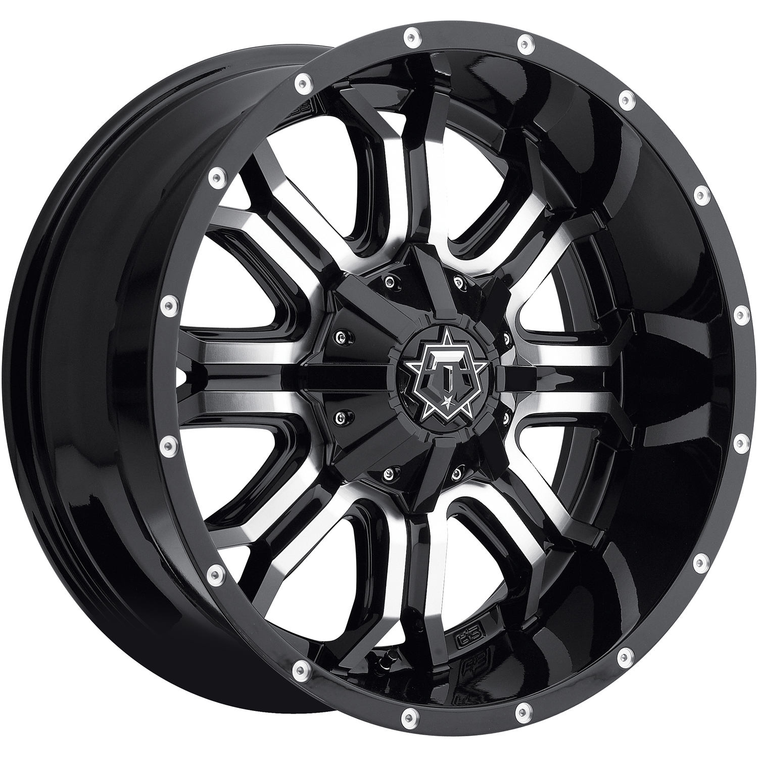 TIS 535MB Gloss Black with Machined Spoke Faces 18x9 -12