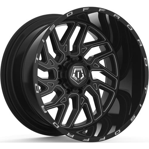 TIS 544BM Gloss Black with Milled Spoke Accents 20x12 -44mm