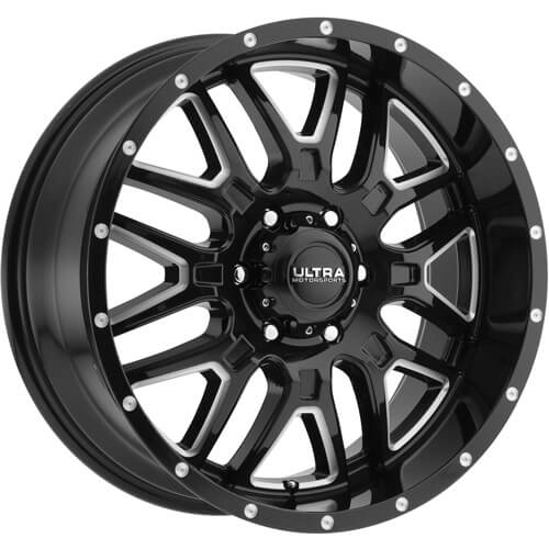 Ultra Hunter Gloss Black with Milled Spoke Edges 18x9 -12
